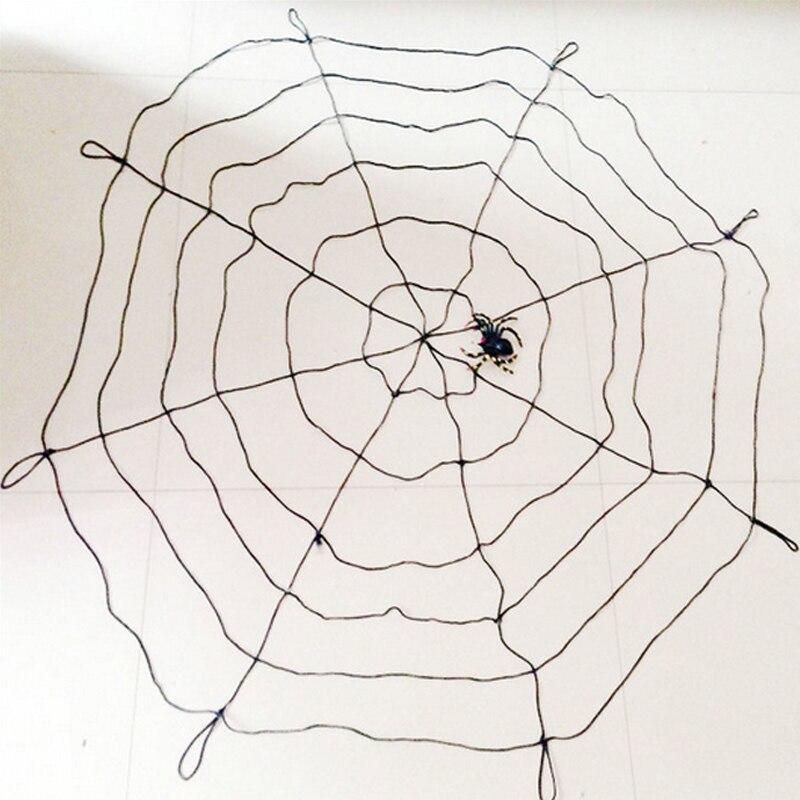 1,5 m Halloween Schwarzweiss-Spinnennetz mit Spinne für - Partyartikel und Dekoration
