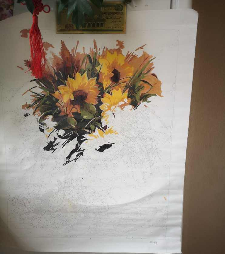 Frameless DIY Lukisan dengan Angka Bunga Dekorasi Dinding DIY Gambar Lukisan Cat Minyak Di Atas Kanvas untuk Dekorasi Rumah 4050 Cm Bunga Matahari