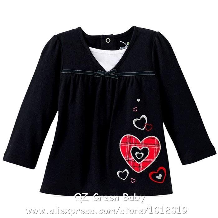 12M~5T Brand High Quality 100% Cotton Children Baby Girls Clothes Clothing Kids Girls t-shirts tshirts Shirts Blouse Long Sleeve