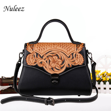 Nuleez сумки женские из натуральной кожи китайский ручной резьбой живопись красивые цветы высокое качество натуральной Сумка-мешок 2018 Новый роскошные