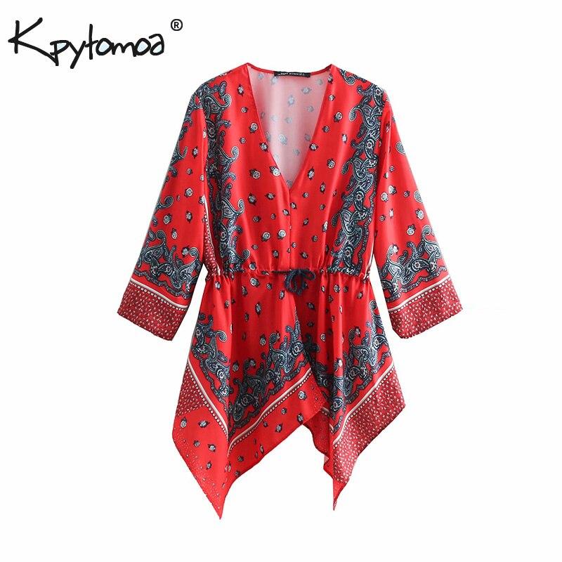 741033ca0 Vintage estilo Floral Tops Blusas de mujeres 2019 de moda cuello en V  asimetría cordón damas Casual camisas Blusas Mujer