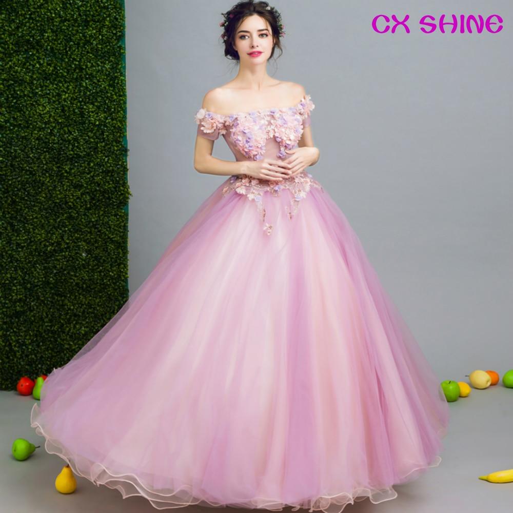 CX SHINE Pink Formal vestido de Noche perspectiva flores vestidos de ...
