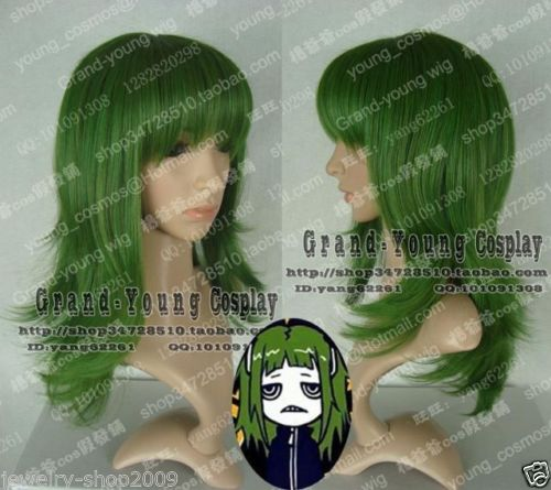 New Wig Cosplay Vocaloid Gumi Medium Dark Green Wig +wig Lace Cap Refreshing And Enriching The Saliva