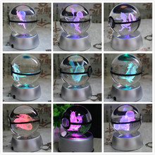 New Style Pokemon Ball With Engraving Crystal Ball For Gift With Led Light dragonite 3d crystal ball pokemon go light glass ball engraving round with black line ball led colorful base child s gift