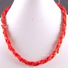 """Envío gratis joyería moda piedra Natural mar rojo Coral Beads Weave collar 19 """" E821"""