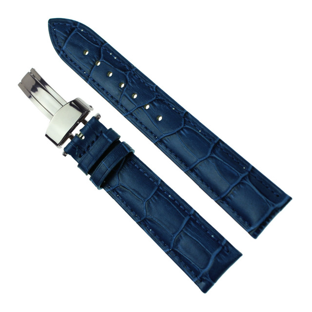 Blue Wristwatch WatchBand Silver Push Buckle Bamboo Pattern Leather Strap 14mm 1