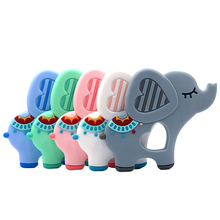 Safe Baby Teether Animal Elephant Infant DIY Ring Necklace Teether Toddle Food Grade Silicone Chew Charms Kids Teething Toy Gift