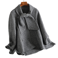 2019 модная куртка с воротником на шнуровке, женская зимняя куртка, офисный элегантный маленький костюм, пальто, тонкий короткий рукав, шерстя