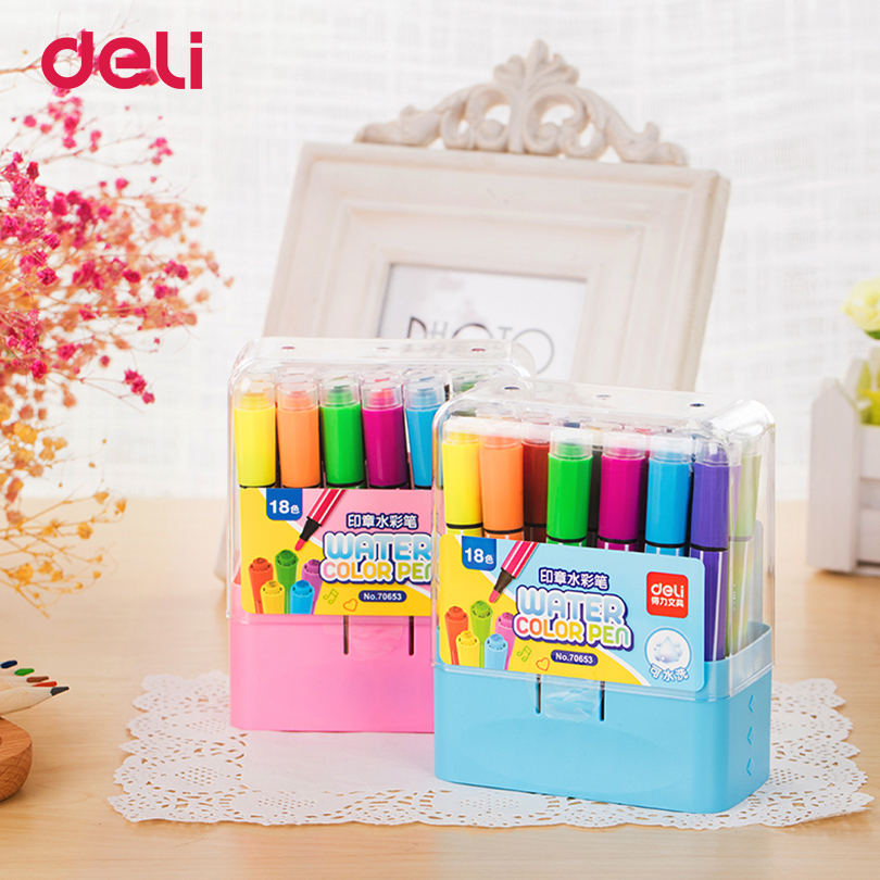 Deli Painting stamp water color Pens 12 Colors / Set painting supplies Watercolor stationery Markers for Sketch umělec psací potřeby