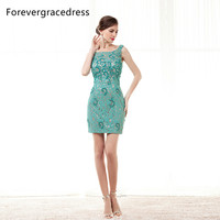 Forevergracedress Green Lace Cocktail Dress Scoop Neck Beaded Sleeveless Backless Short Mini Party Gown Plus Size Custom Made
