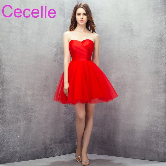 cc57c5fcf6bc Red Cute Short Mini Cocktail Dresses 2019 Sweetheart Tulle Skirt Girls  Informal Cocktail Party Dress Juniors Prom Gowns Short