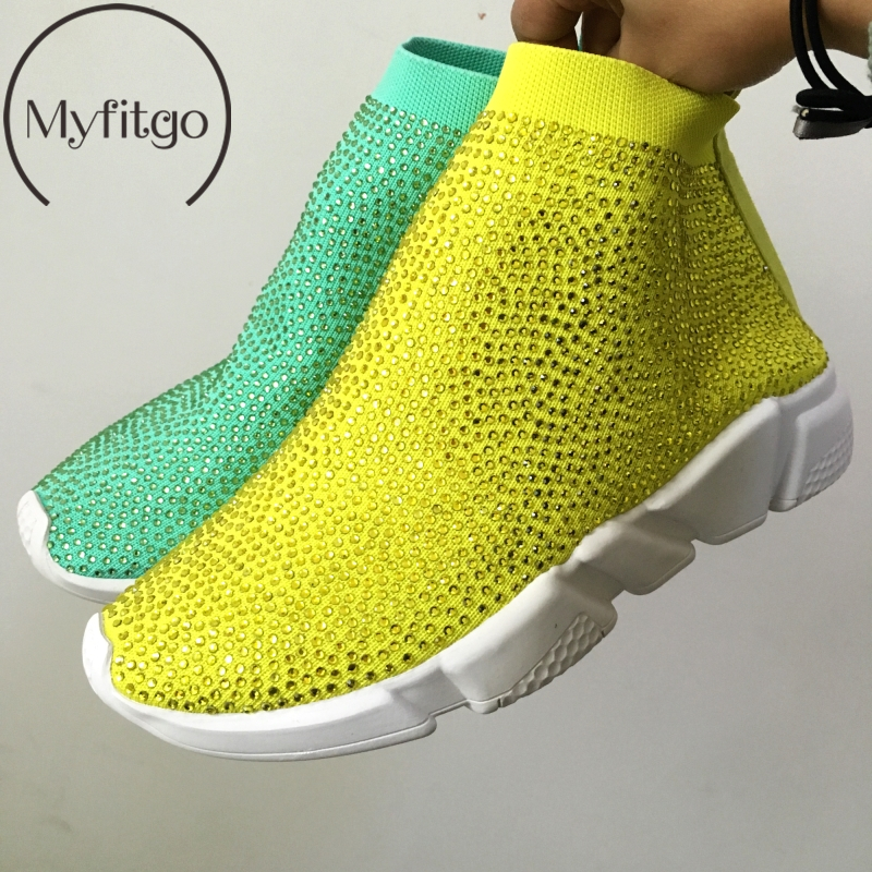 Plate-forme Sneakers Femmes chaussures en tricot Femme Courir Sport Respirant Chaussures Blingbling Strass Femmes Sneakers Printemps Femme