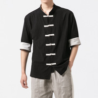 2019 summer new Chinese style linen button men's casual short sleeved shirt retro large size cotton and linen Tang men