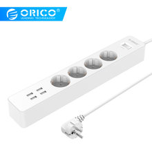 ORICO Power Strip Electrical Socket Home Office EU/UK Surge Protector With 4 USB Charger 4 AC Plug Multi-Outlet(China)