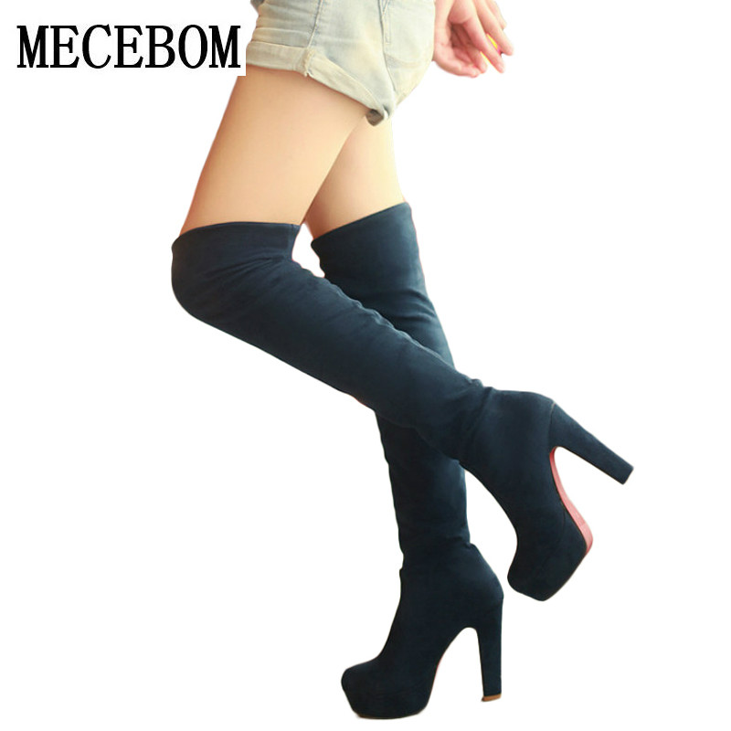 2017 New Women Suede Sexy Fashion Over the Knee Boots Sexy Thin High Heel Boots Platform Woman Shoes Black Blue size 34-43 M2W big size 34 45 women boots over the knee shoes black white slim thin high boots sexy ladies fashion shoes 86278