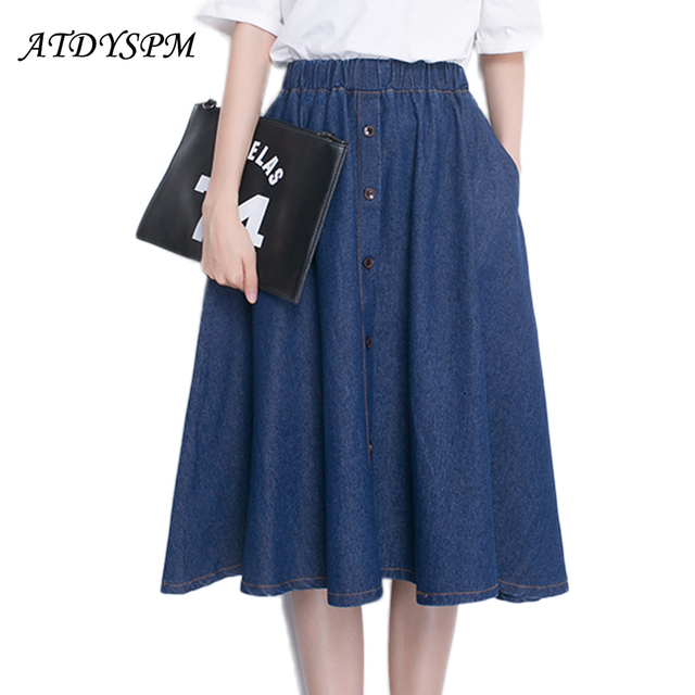 bbbfb7d21ff Women Denim Skirts High Waist Plus Size Midi Skirt Vintage Loose Casual  A-Line Skirt Sexy Buttons High Street Style Saias Faldas