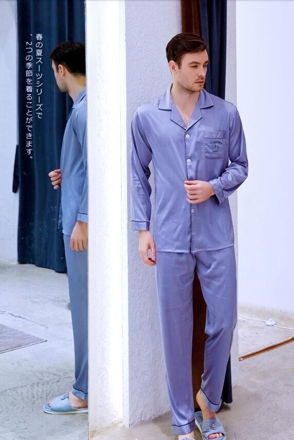 Men's Ice Silk Satin Sleepwear Long Sleeved Youth Leisure Silk Nightwear New Style Home Clothes Students Plus Size Homewear J041