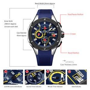 Image 4 - MEGIR erkek spor Chronograph kuvars saatler silikon kayış aydınlık su geçirmez ordu askeri kol saati adam Relogios 2053 mavi