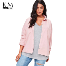 Kissmilk 2018Plus Size Sweet Women Jackets Letter Printed Big Solid Pink Female Coats Large Casual Lady Outwears
