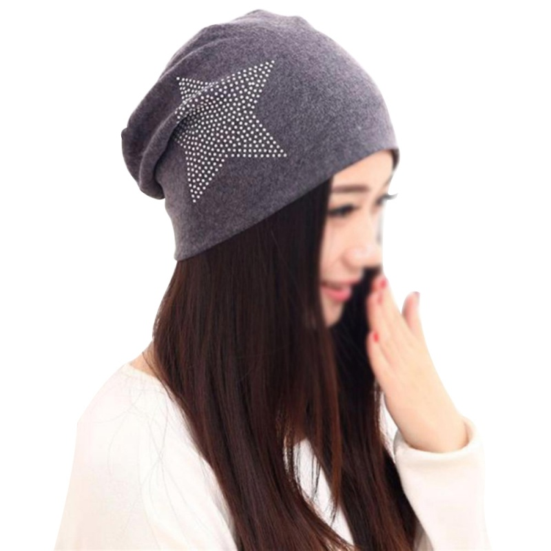 Fall Winter Cotton Knit Baggy Women Hats Bronzing Star Fashion Casual Beanie Cap High Elasticity Female Skullies Cotton Girl Hat winter casual cotton knit hats for women men baggy beanie hat crochet slouchy oversized cap warm skullies toucas gorros w1