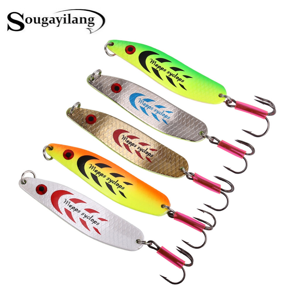 Sougayilang Mepps Fishing Lure 5pcs/lot Fishing Wobblers 5Colors Sea Winter Metal Spoon Artificial Fishing Bait Peche
