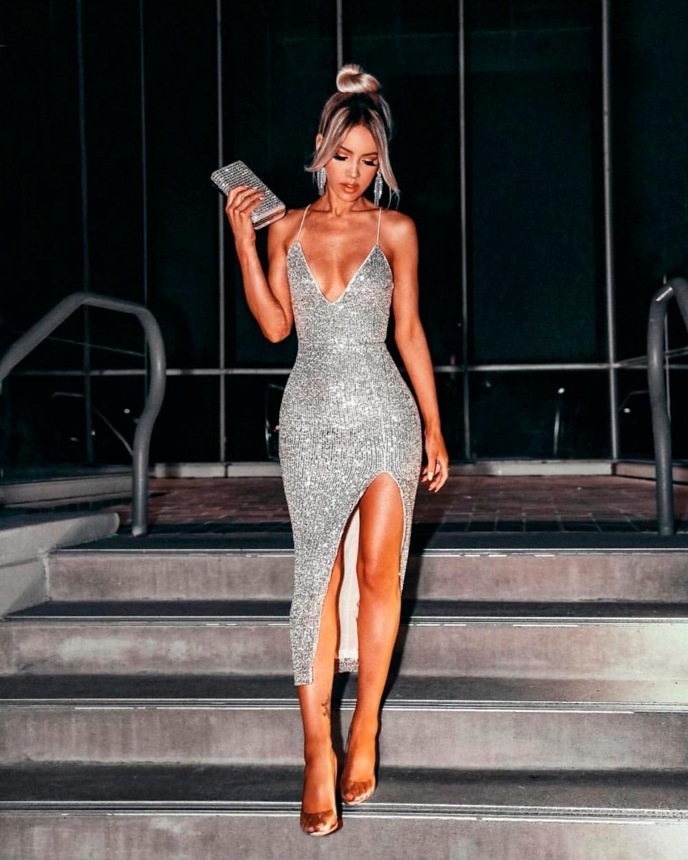 Vestidos Women Sexy Sequins Bling Silver Party Dress 2019 -8512