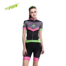 BATFOX 2016 Women Cycling Jersey Short Sleeve Ultraviolet-Proof Bike Clothing Summer Breathable Polyester Sports Bicycle Jersey