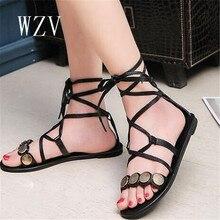 WZV Femmes Chaussures Confort Sandales D'été Flip Flops 2017 Mode Dentelle-up Plat Sandales Gladiateur paillettes Sandalias Mujer d343