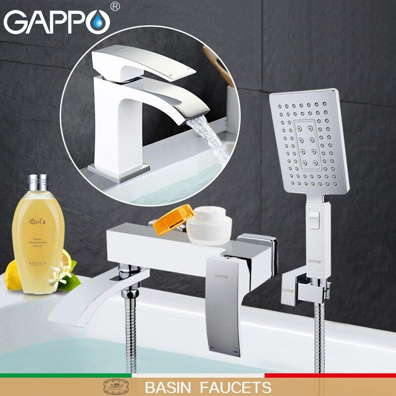 GAPPO bianco Bacino Rubinetti bacino lavello miscelatori acqua bagno doccia rubinetto vasca da bagno doccia testa rubinetto cascata Sanitary Ware Suite