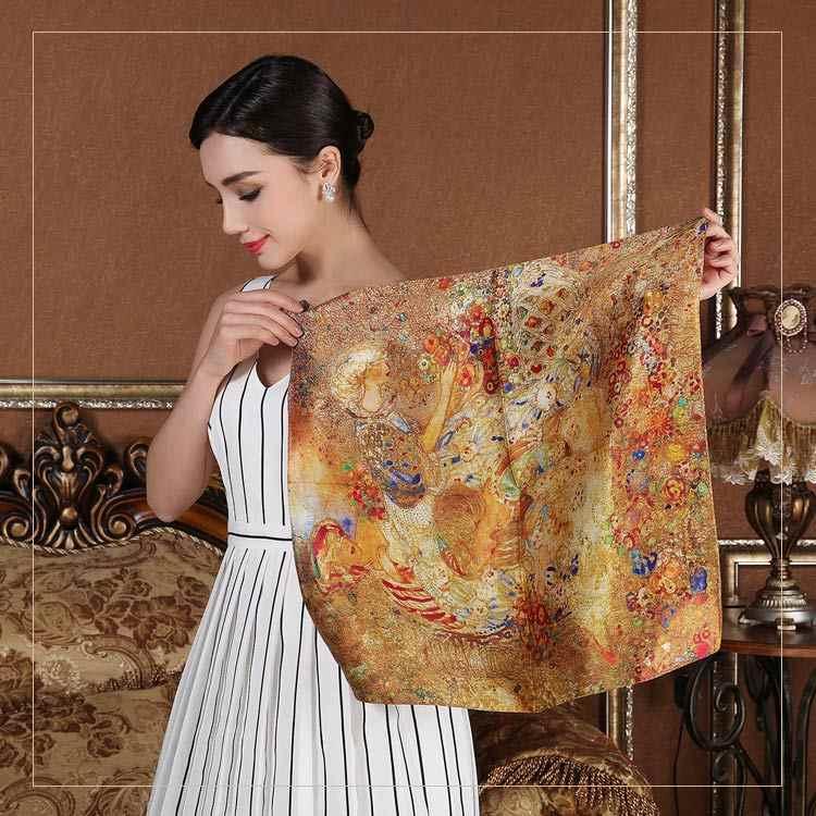 Primavera 100% lenço quadrado de seda para feminino menina senhoras moda bebê crianças lenços bolsa fita de cabelo 53*53 cm