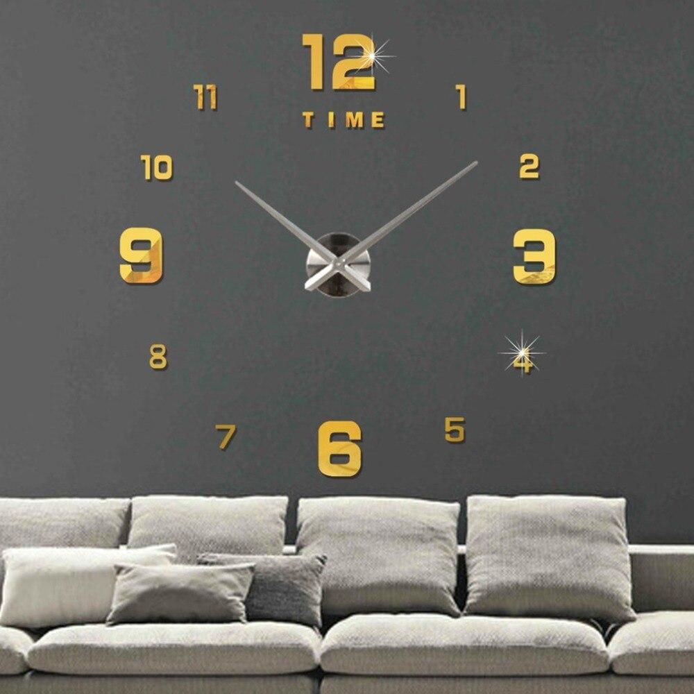 Large Sticker DIY Needle Quartz Wall Clocks for Home Living Room Minimalist Wall Clock Fashion 3D Mirror Clock Dropshipping