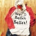Женская Мода Мягкие Удобные Шик Письма Печать Реглан С Длинным Рукавом Crewneck Бейсбол Повседневная Tee Футболка Топ