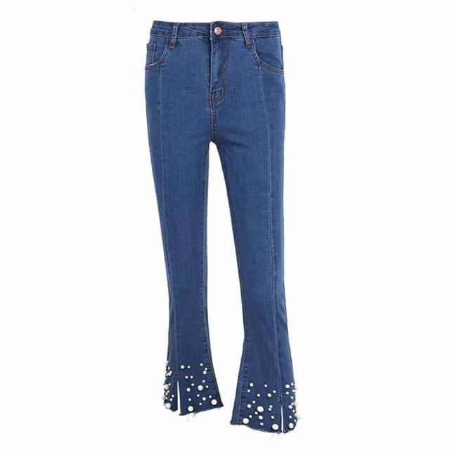 df9ae21845d Denim Cintura Alta Pantalones Acampanados Pantalones Vaqueros Femeninos  Perla Decoración Pocket Jeans Pantalones Mujeres Bottoms Azul