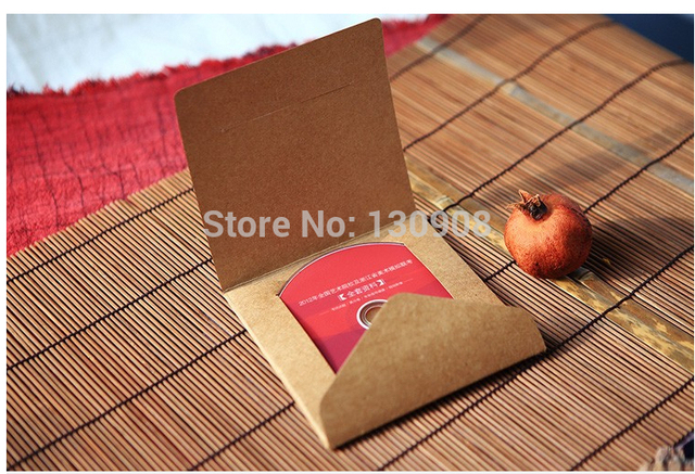 20 PCs Quality Kraft Paper CD Case foldable,paper DVD Sleeve,DIY