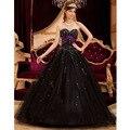 Glamorous Beading Preto vestido de Baile Vestidos Quinceanera 2017 Fora Do Ombro Tule Princesa Quinceanera Vestidos Até O Chão Sem Encosto