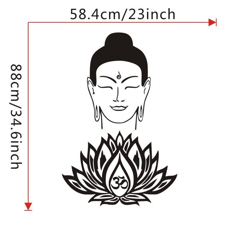 Buddha Face Wall Decals Vinyl Om Symbol Lotus Flower Wall Stickers