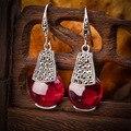 925 Sterling silver women jewelry Natural semi-precious stones Garnet Earrings green green agate red Lady girlfriend gift