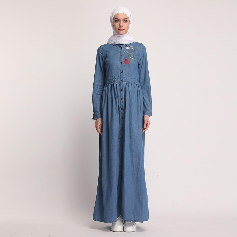 Muslim Embroidery Abaya Denim Jeans Cardigan Maxi Dress Kimono Long Robes Vestidos Middle East Ramadan Turkish Islamic Prayer