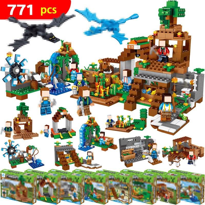 771 pièces 8 in1 Minecrafted Manoir Immobilier Maison Compatible avec Légèreté Mon monde modèle blocs de Construction briques jouet pour les enfants