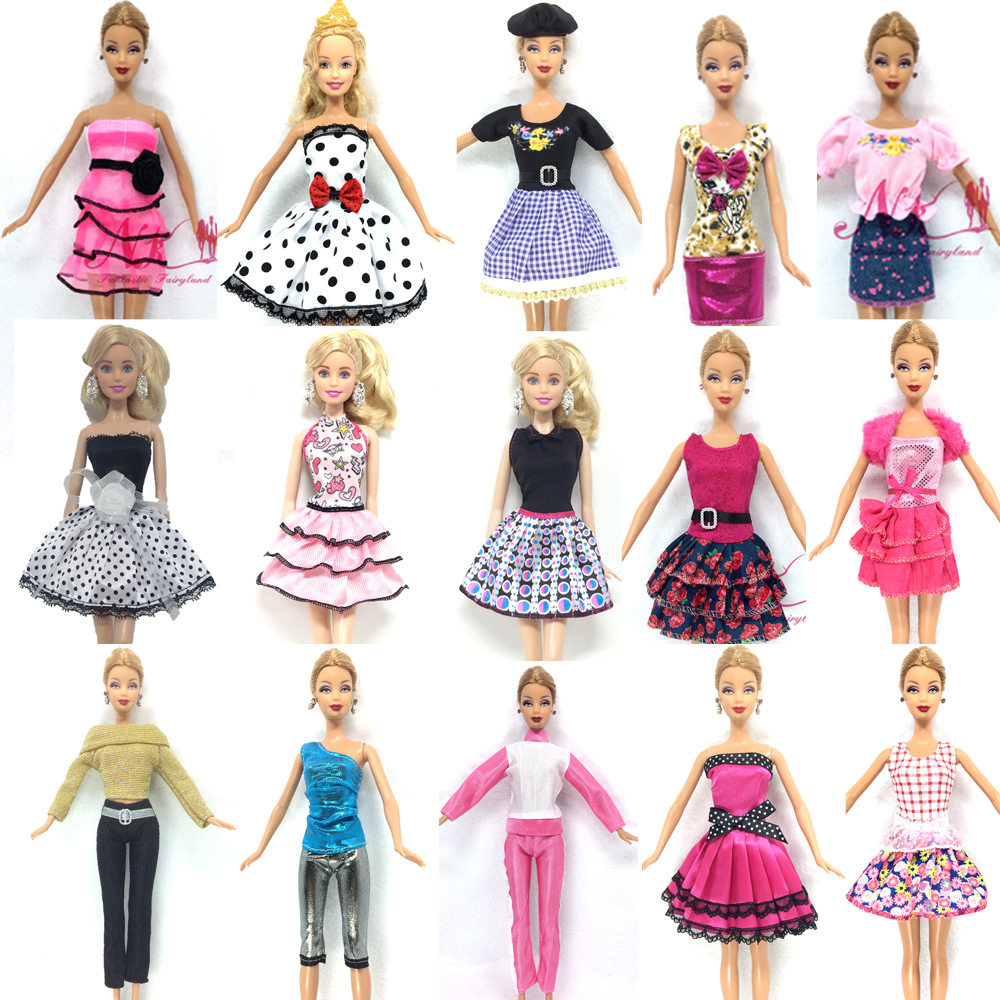 все цены на NK One Set Newest Doll Outfit Beautiful Handmade Party ClothesTop Fashion Dress For Barbie Noble Doll Best Child Girls'Gift