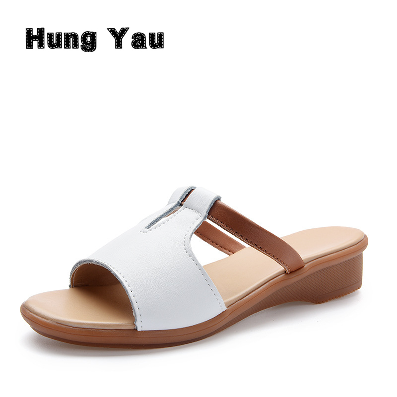 Women Sandals Genuine Leather Shoes Women Summer Style Flip Flops Wedges Fashion Plus Size 10 Platform Female Slides Lady Shoes women sandals 2017 summer shoes woman flips flops wedges fashion gladiator fringe platform female slides ladies casual shoes