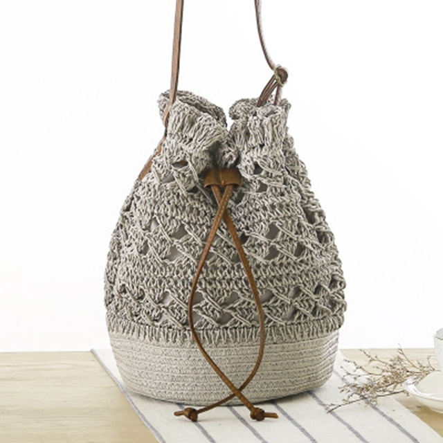 New Crocheted Woven Bag Wind Straw Knit Backpack Small Capacity