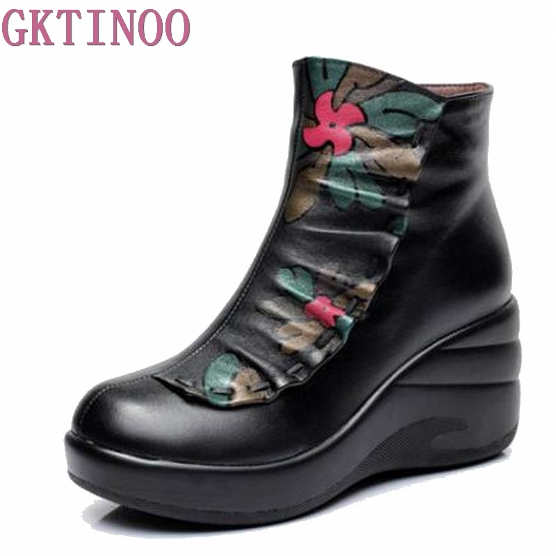 Winter Woman boots Shoes Plush Lady's Boots Women National trend genuine leather boots handmade ankle Shoes flower HY417 handmade genuine leather boots vintage national trend women boots twiddlefish platform flat heels boots women shoes