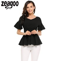 Zeagoo Women Casual V Neck Short Sleeve Ruffle A Line Pleated Hem Elastic Waist Solid T