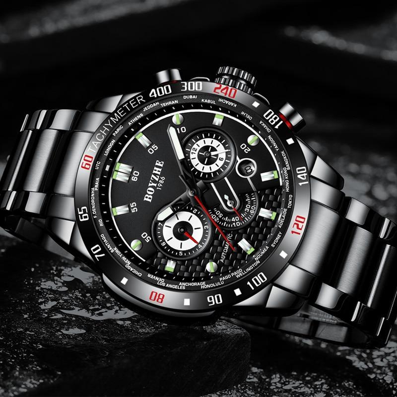 BOYZHE ผู้ชายอัตโนมัตินาฬิกาแฟชั่นแบรนด์หรูนาฬิกาผู้ชายสแตนเลสนาฬิกากันน้ำ Relogio Masculino-ใน นาฬิกาข้อมือใส่เล่นกีฬา จาก นาฬิกาข้อมือ บน   2
