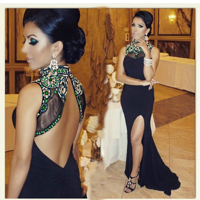 vestido de baile Elegant Open Back Evening Dress Luxury Beading Black  Mermaid Prom Dresses 2019 Sexy Side Slit Long Prom Dress 2cdc6ebd0e22