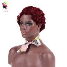 Feibin короткий афро парик для чернокожих женщин красные синтетические