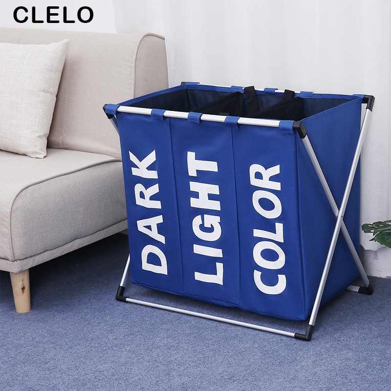 CLELO Laundry Hamper Basket Oxford fabric with Aluminum Frame 3 Sections Durable Dirty Clothes Bag for Bathroom Bedroom