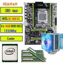 HUANAN golden 2.49 X79 motherboard LGA2011 ATX CPU E5 1650 V2 SR1AQ 4 x 16G 64GB 1333Mhz with cooler SATA3 PCI-E NVME M.2 SSD(China)
