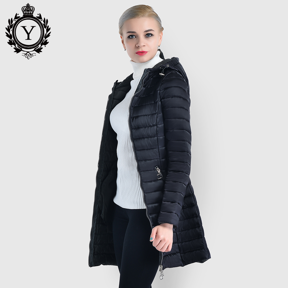 Spring Quilted Cotton Padded Jackets and Coats Women   Parkas   Long Windproof With Hood Slim Warm Coat 2019 COUTUDI New Collections